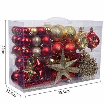 YILEEY Weihnachtskugeln Weihnachtsdeko Set Gold und Rot 108 STK in 15 Farben, Kunststoff Weihnachtsbaumkugeln Box mit Aufhänger Christbaumkugeln Plastik Bruchsicher, Weihnachtsbaumschmuck, MEHRWEG - 4