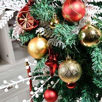 YILEEY Weihnachtskugeln Weihnachtsdeko Set Gold und Rot 108 STK in 15 Farben, Kunststoff Weihnachtsbaumkugeln Box mit Aufhänger Christbaumkugeln Plastik Bruchsicher, Weihnachtsbaumschmuck, MEHRWEG - 6