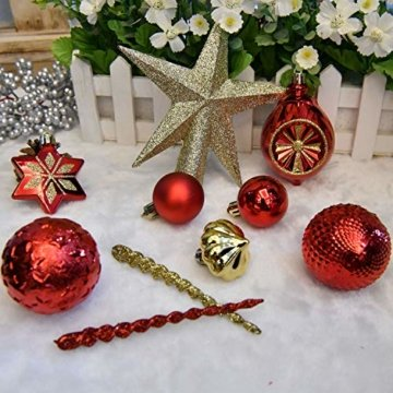 YILEEY Weihnachtskugeln Weihnachtsdeko Set Gold und Rot 108 STK in 15 Farben, Kunststoff Weihnachtsbaumkugeln Box mit Aufhänger Christbaumkugeln Plastik Bruchsicher, Weihnachtsbaumschmuck, MEHRWEG - 7