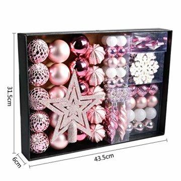 YILEEY Weihnachtskugeln Weihnachtsdeko Set Rosa 68 STK in 14 Farben, Kunststoff Weihnachtsbaumkugeln Box mit Aufhänger Christbaumkugeln Plastik Bruchsicher, Weihnachtsbaumschmuck, MEHRWEG - 3