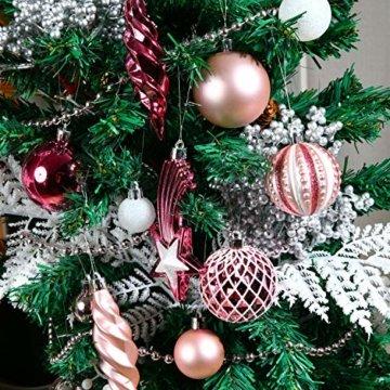 YILEEY Weihnachtskugeln Weihnachtsdeko Set Rosa 68 STK in 14 Farben, Kunststoff Weihnachtsbaumkugeln Box mit Aufhänger Christbaumkugeln Plastik Bruchsicher, Weihnachtsbaumschmuck, MEHRWEG - 4
