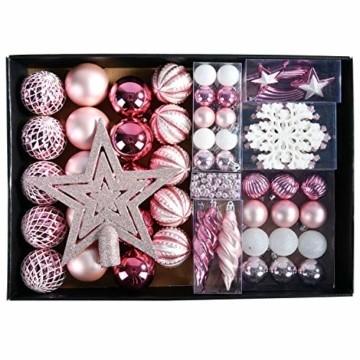 YILEEY Weihnachtskugeln Weihnachtsdeko Set Rosa 68 STK in 14 Farben, Kunststoff Weihnachtsbaumkugeln Box mit Aufhänger Christbaumkugeln Plastik Bruchsicher, Weihnachtsbaumschmuck, MEHRWEG - 1