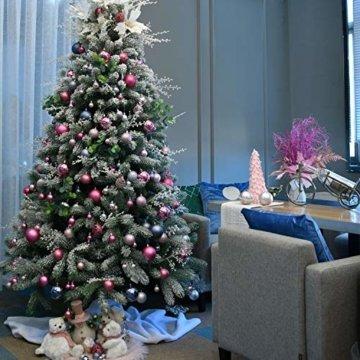 YILEEY Weihnachtskugeln Weihnachtsdeko Set Rosa 68 STK in 14 Farben, Kunststoff Weihnachtsbaumkugeln Box mit Aufhänger Christbaumkugeln Plastik Bruchsicher, Weihnachtsbaumschmuck, MEHRWEG - 6