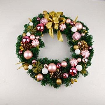 YILEEY Weihnachtskugeln Weihnachtsdeko Set Rosa 68 STK in 14 Farben, Kunststoff Weihnachtsbaumkugeln Box mit Aufhänger Christbaumkugeln Plastik Bruchsicher, Weihnachtsbaumschmuck, MEHRWEG - 7