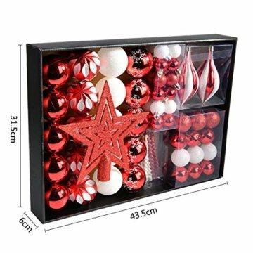 YILEEY Weihnachtskugeln Weihnachtsdeko Set Rot und weiß 68 STK in 10 Farben, Kunststoff Weihnachtsbaumkugeln Box mit Aufhänger Christbaumkugeln Plastik Bruchsicher, Weihnachtsbaumschmuck, MEHRWEG - 2
