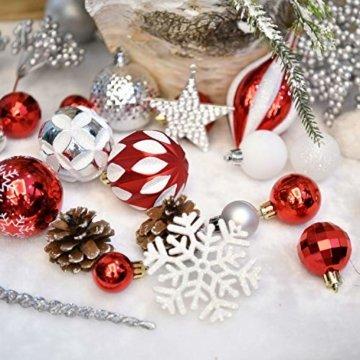 YILEEY Weihnachtskugeln Weihnachtsdeko Set Rot und weiß 68 STK in 10 Farben, Kunststoff Weihnachtsbaumkugeln Box mit Aufhänger Christbaumkugeln Plastik Bruchsicher, Weihnachtsbaumschmuck, MEHRWEG - 4