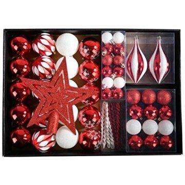 YILEEY Weihnachtskugeln Weihnachtsdeko Set Rot und weiß 68 STK in 10 Farben, Kunststoff Weihnachtsbaumkugeln Box mit Aufhänger Christbaumkugeln Plastik Bruchsicher, Weihnachtsbaumschmuck, MEHRWEG - 1