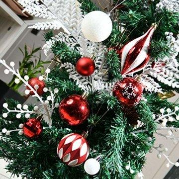 YILEEY Weihnachtskugeln Weihnachtsdeko Set Rot und weiß 68 STK in 10 Farben, Kunststoff Weihnachtsbaumkugeln Box mit Aufhänger Christbaumkugeln Plastik Bruchsicher, Weihnachtsbaumschmuck, MEHRWEG - 5