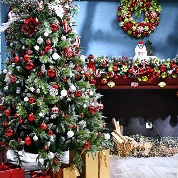 YILEEY Weihnachtskugeln Weihnachtsdeko Set Rot und weiß 68 STK in 10 Farben, Kunststoff Weihnachtsbaumkugeln Box mit Aufhänger Christbaumkugeln Plastik Bruchsicher, Weihnachtsbaumschmuck, MEHRWEG - 7