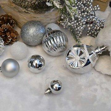 YILEEY Weihnachtskugeln Weihnachtsdeko Set Silber und Weiß 68 STK in 21 Farben, Kunststoff Weihnachtsbaumkugeln Box mit Aufhänger Christbaumkugeln Plastik Bruchsicher, Weihnachtsbaumschmuck, MEHRWEG - 3