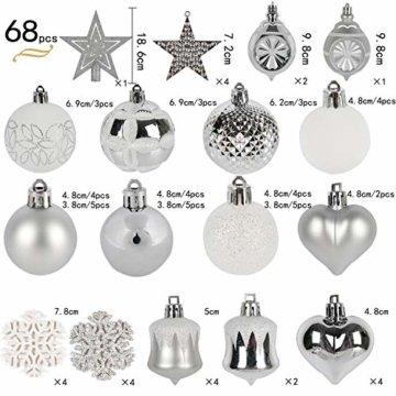 YILEEY Weihnachtskugeln Weihnachtsdeko Set Silber und Weiß 68 STK in 21 Farben, Kunststoff Weihnachtsbaumkugeln Box mit Aufhänger Christbaumkugeln Plastik Bruchsicher, Weihnachtsbaumschmuck, MEHRWEG - 4