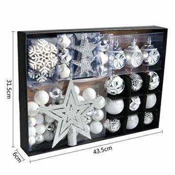 YILEEY Weihnachtskugeln Weihnachtsdeko Set Silber und Weiß 68 STK in 21 Farben, Kunststoff Weihnachtsbaumkugeln Box mit Aufhänger Christbaumkugeln Plastik Bruchsicher, Weihnachtsbaumschmuck, MEHRWEG - 5