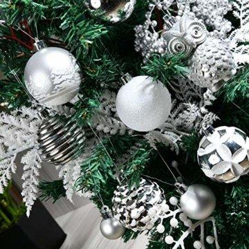 YILEEY Weihnachtskugeln Weihnachtsdeko Set Weiß und Silber 108 STK in 15 Farben, Kunststoff Weihnachtsbaumkugeln Box mit Aufhänger Christbaumkugeln Plastik Bruchsicher, Weihnachtsbaumschmuck, MEHRWEG - 2