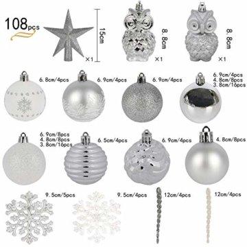 YILEEY Weihnachtskugeln Weihnachtsdeko Set Weiß und Silber 108 STK in 15 Farben, Kunststoff Weihnachtsbaumkugeln Box mit Aufhänger Christbaumkugeln Plastik Bruchsicher, Weihnachtsbaumschmuck, MEHRWEG - 3