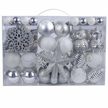 YILEEY Weihnachtskugeln Weihnachtsdeko Set Weiß und Silber 108 STK in 15 Farben, Kunststoff Weihnachtsbaumkugeln Box mit Aufhänger Christbaumkugeln Plastik Bruchsicher, Weihnachtsbaumschmuck, MEHRWEG - 1
