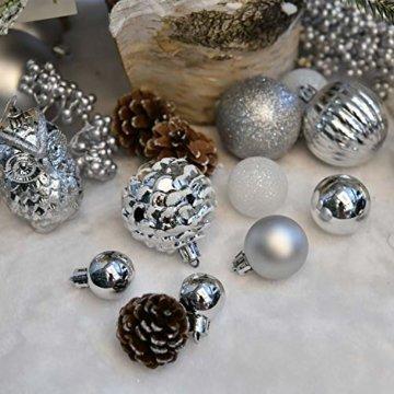 YILEEY Weihnachtskugeln Weihnachtsdeko Set Weiß und Silber 108 STK in 15 Farben, Kunststoff Weihnachtsbaumkugeln Box mit Aufhänger Christbaumkugeln Plastik Bruchsicher, Weihnachtsbaumschmuck, MEHRWEG - 5
