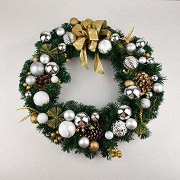 YILEEY Weihnachtskugeln Weihnachtsdeko Set Weiß und Silber 108 STK in 15 Farben, Kunststoff Weihnachtsbaumkugeln Box mit Aufhänger Christbaumkugeln Plastik Bruchsicher, Weihnachtsbaumschmuck, MEHRWEG - 6