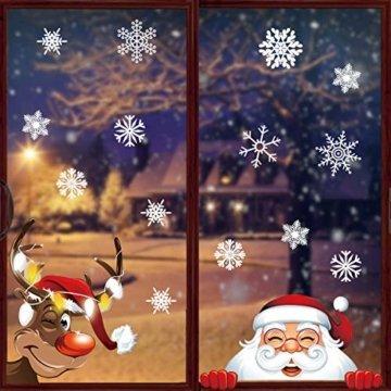Yuson Girl 42 Stk Schneeflocken Fensterbild mit Weihnachtsmann Elk Abnehmbare Weihnachten Aufkleber Fenster Weihnachten Deko Wandtattoo Weihnachten Statisch Haftende PVC Aufkleber - 2