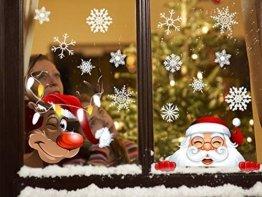Yuson Girl 42 Stk Schneeflocken Fensterbild mit Weihnachtsmann Elk Abnehmbare Weihnachten Aufkleber Fenster Weihnachten Deko Wandtattoo Weihnachten Statisch Haftende PVC Aufkleber - 1