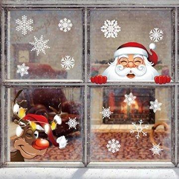 Yuson Girl 42 Stk Schneeflocken Fensterbild mit Weihnachtsmann Elk Abnehmbare Weihnachten Aufkleber Fenster Weihnachten Deko Wandtattoo Weihnachten Statisch Haftende PVC Aufkleber - 5