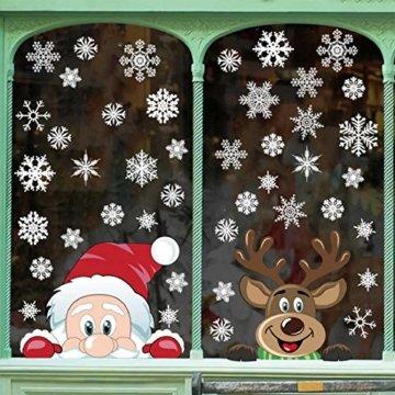Yuson Girl Schneeflocken Fensterbild Abnehmbare Weihnachten Aufkleber Fenster Weihnachten Deko Weihnachtsmann Elk Wandtattoo Weihnachten Statisch Haftende PVC Aufkleber - 3