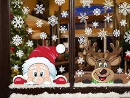 Yuson Girl Schneeflocken Fensterbild Abnehmbare Weihnachten Aufkleber Fenster Weihnachten Deko Weihnachtsmann Elk Wandtattoo Weihnachten Statisch Haftende PVC Aufkleber - 1