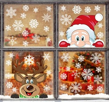 Yuson Girl Schneeflocken Fensterbild Abnehmbare Weihnachten Aufkleber Fenster Weihnachten Deko Weihnachtsmann Elk Wandtattoo Weihnachten Statisch Haftende PVC Aufkleber - 4