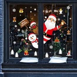 Yuson Girl Weihnachten Aufkleber Fenster Weihnachtsmann Elch Schneemann Abnehmbare Weihnachten Deko Wandtattoo Weihnachten Statisch Haftende PVC Aufkleber - 1