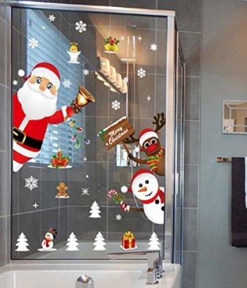 Yuson Girl Weihnachten Aufkleber Fenster Weihnachtsmann Elch Schneemann Abnehmbare Weihnachten Deko Wandtattoo Weihnachten Statisch Haftende PVC Aufkleber - 5