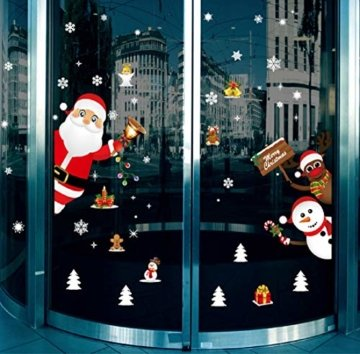 Yuson Girl Weihnachten Aufkleber Fenster Weihnachtsmann Elch Schneemann Abnehmbare Weihnachten Deko Wandtattoo Weihnachten Statisch Haftende PVC Aufkleber - 7
