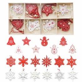Zasiene Weihnachtsbasteln 36 Stück Weihnachtsbaumschmuck Holz Holzanhänger Weihnachten Weihnachtsbaumschmuck Rot Weiß Weihnachtsdeko Verzierung mit Hölzerner Aufbewahrungsbox - 1