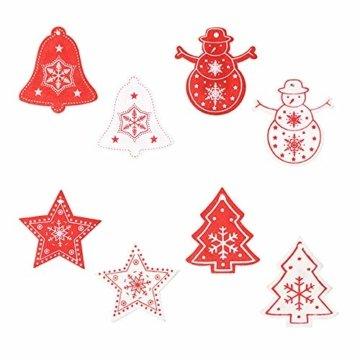 Zasiene Weihnachtsbasteln 36 Stück Weihnachtsbaumschmuck Holz Holzanhänger Weihnachten Weihnachtsbaumschmuck Rot Weiß Weihnachtsdeko Verzierung mit Hölzerner Aufbewahrungsbox - 4