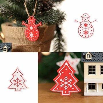 Zasiene Weihnachtsbasteln 36 Stück Weihnachtsbaumschmuck Holz Holzanhänger Weihnachten Weihnachtsbaumschmuck Rot Weiß Weihnachtsdeko Verzierung mit Hölzerner Aufbewahrungsbox - 6