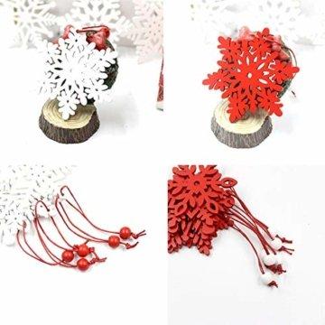 Zasiene Weihnachtsbasteln 36 Stück Weihnachtsbaumschmuck Holz Holzanhänger Weihnachten Weihnachtsbaumschmuck Rot Weiß Weihnachtsdeko Verzierung mit Hölzerner Aufbewahrungsbox - 7