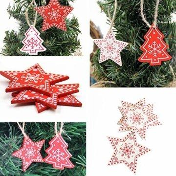 Zasiene Weihnachtsbasteln 36 Stück Weihnachtsbaumschmuck Holz Holzanhänger Weihnachten Weihnachtsbaumschmuck Rot Weiß Weihnachtsdeko Verzierung mit Hölzerner Aufbewahrungsbox - 9