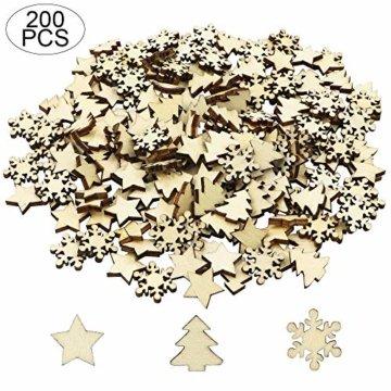 ZesNice Streudeko Weihnachten, 200 Stücke Holzsterne Blank Holz Scheiben Mini Verschönerungen für Handwerk Making DIY - 2