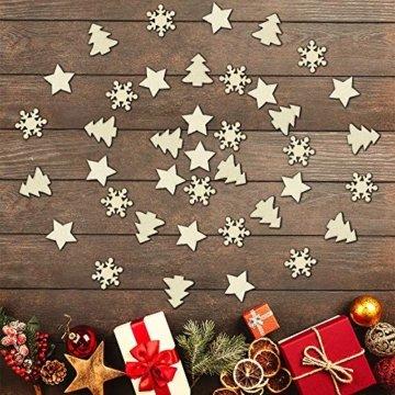 ZesNice Streudeko Weihnachten, 200 Stücke Holzsterne Blank Holz Scheiben Mini Verschönerungen für Handwerk Making DIY - 6
