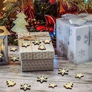 ZesNice Streudeko Weihnachten, 200 Stücke Holzsterne Blank Holz Scheiben Mini Verschönerungen für Handwerk Making DIY - 7