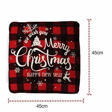 Zierkissenbezüge 4 Stück kissenbezug weihnachten,Kissenbezug Frohe Weihnachten,Wohnkultur Leinen Dekokissen,Schneeflocke Rentier&Weihnachtsmann Muster,Weihnachten Deko Kissenbezug 40x40cm - 2