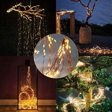 Zorara LED Lichterbündel, 2M 200 LED Lichtervorhang, 8 modi lichterbündel außen mit Fernbedienung, Weihnachtsbaum Lichterkette Partydekoration für Garten, Party, Weihnachten, Hochzeit - 3