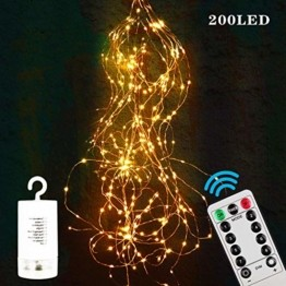 Zorara LED Lichterbündel, 2M 200 LED Lichtervorhang, 8 modi lichterbündel außen mit Fernbedienung, Weihnachtsbaum Lichterkette Partydekoration für Garten, Party, Weihnachten, Hochzeit - 1