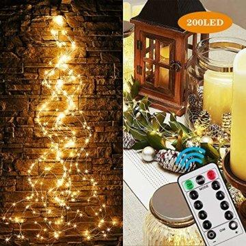 Zorara LED Lichterbündel, 2M 200 LED Lichtervorhang, 8 modi lichterbündel außen mit Fernbedienung, Weihnachtsbaum Lichterkette Partydekoration für Garten, Party, Weihnachten, Hochzeit - 5
