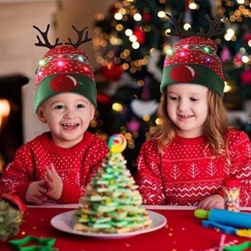 ZOYLINK LED Weihnachten Strickmütze Beanie Hat dekorative Geweih Strickmütze Wintermütze warme Mütze - 2
