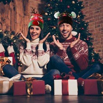ZOYLINK LED Weihnachten Strickmütze Beanie Hat dekorative Geweih Strickmütze Wintermütze warme Mütze - 3