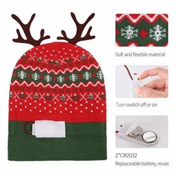 ZOYLINK LED Weihnachten Strickmütze Beanie Hat dekorative Geweih Strickmütze Wintermütze warme Mütze - 4