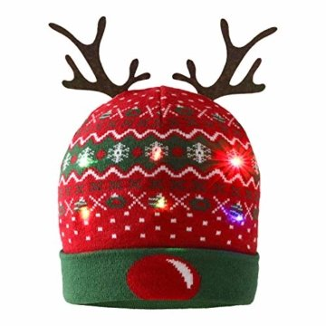 ZOYLINK LED Weihnachten Strickmütze Beanie Hat dekorative Geweih Strickmütze Wintermütze warme Mütze - 1