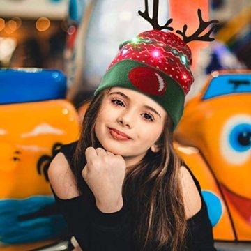 ZOYLINK LED Weihnachten Strickmütze Beanie Hat dekorative Geweih Strickmütze Wintermütze warme Mütze - 5