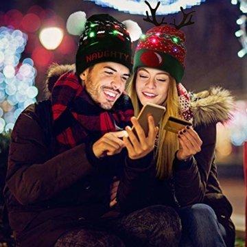 ZOYLINK LED Weihnachten Strickmütze Beanie Hat dekorative Geweih Strickmütze Wintermütze warme Mütze - 6