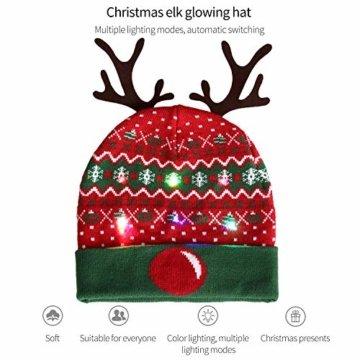 ZOYLINK LED Weihnachten Strickmütze Beanie Hat dekorative Geweih Strickmütze Wintermütze warme Mütze - 7