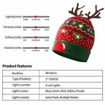 ZOYLINK LED Weihnachten Strickmütze Beanie Hat dekorative Geweih Strickmütze Wintermütze warme Mütze - 8